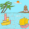 Sea and lighthouse coloring juego