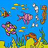 Sea turtle and fishes coloring juego