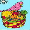 Isla Tropic y loro para colorear juego