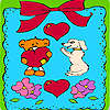 Valentines day animals in frame coloring juego