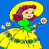 Village girl and flowers coloring juego