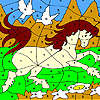 White doves and horse coloring juego