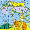 Asistente y dragón para colorear juego