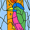 Woodpecker in the forest coloring juego